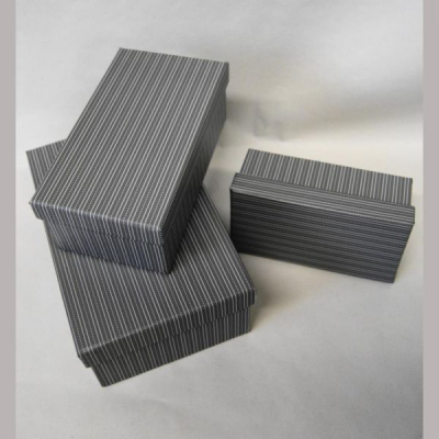 Geschenkskarton 3er Set Nadelstreif 18x11,5 / 15x8,5 / 13x7