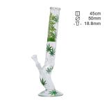 Bong Glas Hanfblatt schräg 45cm