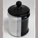 Tabaktopf Keramik schwarz/weiss 8,5x11cm
