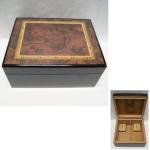 Humidor f.50 Zigarren dkl/Intars. 29,5x23cm