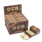OCB Unbleached Rolls Slim+Tips Virgin Paper