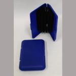 Visitenkartenetui Plastik blau 6Fächer
