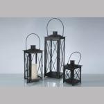 Laterne Edelstahl schwarz/Glas 3er Set