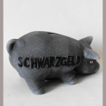 Sparschwein Schwarzgeld 16cm grau