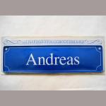 Namensschild Andreas 7x26cm
