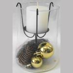 Windlicht Glas+Kerze+Deko gold 13cm