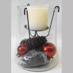 Windlicht Glas+Kerze+Deko rot 13cm