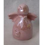 Engel rosa perlfarben 8x5x10cm