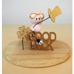 Schwein Good Luck auf Holzkleeblatt 10cm