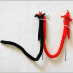 Krampus Chenille/Schwanz 14cm 2er